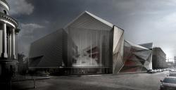 Конкурсная концепция фасадов нового здания Третьяковской галереи. Вариант 2