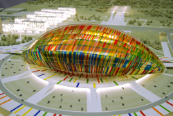 Concept of sports and infrastructure facilities of FIFA World Football Cup in 2018 in Volgograd