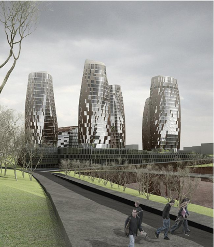 Multi-use residential-business complex in Kiev. Architectural and planning concept.