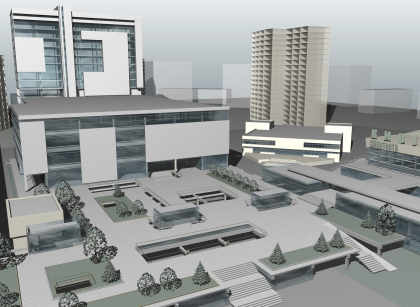 �Perovski�, the business and retail center with underground parking garage