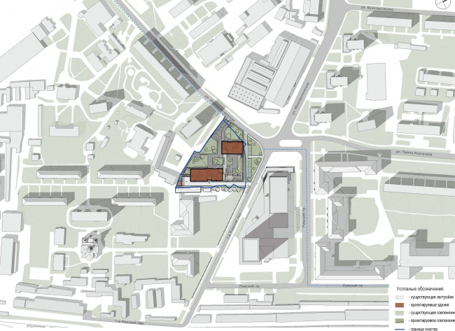 Предпроектное предложение строительства жилого комплекса на Новоалексеевской улице в Москве. Ситуационный план © Сергей Скуратов ARCHITECTS