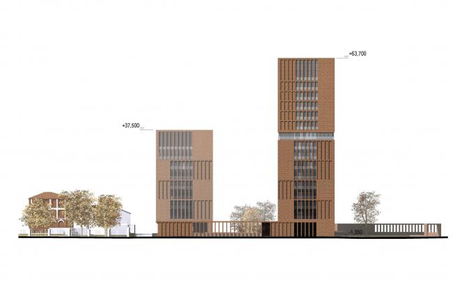 Предпроектное предложение строительства жилого комплекса на Новоалексеевской улице в Москве. Северо-восточный фасад © Сергей Скуратов ARCHITECTS