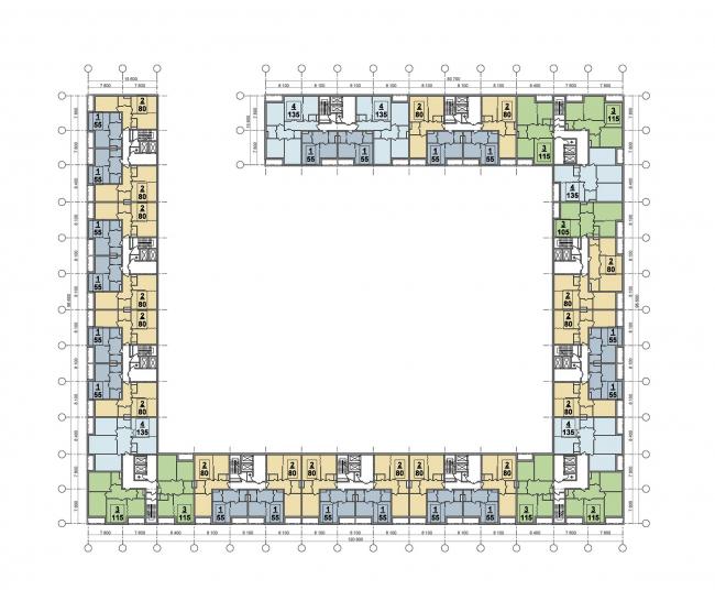 План типового этажа (север) © ТПО «Резерв»