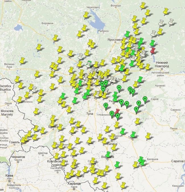 Карта России. Зеленые метки - это уже отснятые города, а желтые - те, наличники в которых пока не сфотографированы. Фотография с сайта http://nalichniki.com