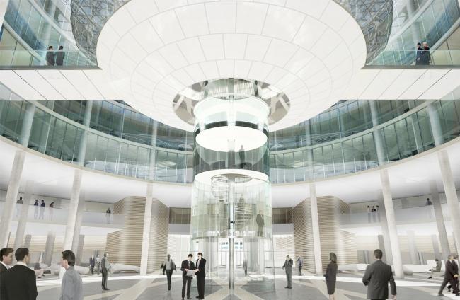 Административный и общественно-деловой комплекс «Невская ратуша». Многосветный атриум в ратуше. Проект, 2007 © Евгений Герасимов и партнеры