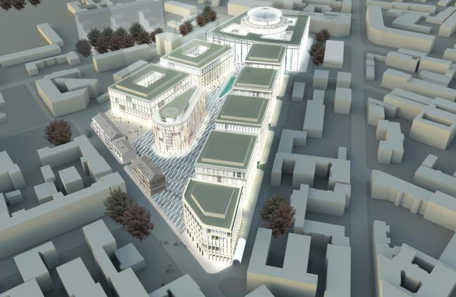 Административный и общественно-деловой комплекс «Невская ратуша». Вид сверху. Проект, 2007 © Евгений Герасимов и партнеры