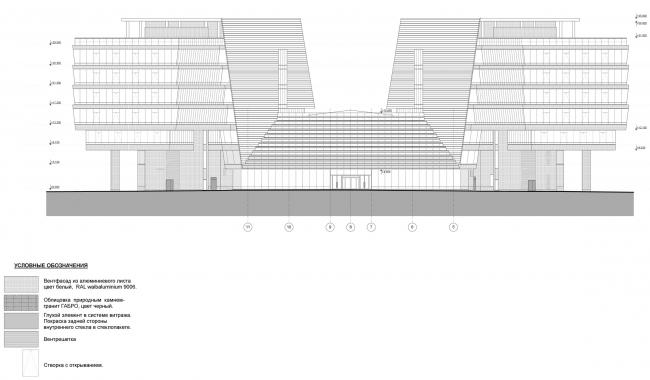 Штаб-квартира Объединенной авиастроительной корпорации в Жуковском. Фасад в осях 11-5 © ТПО «Резерв» (2012)