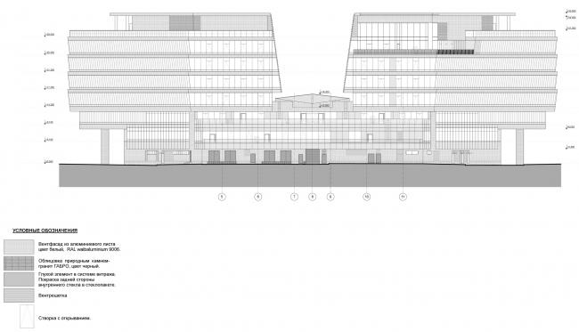 Штаб-квартира Объединенной авиастроительной корпорации в Жуковском. Фасад в осях 5-11 © ТПО «Резерв» (2012)