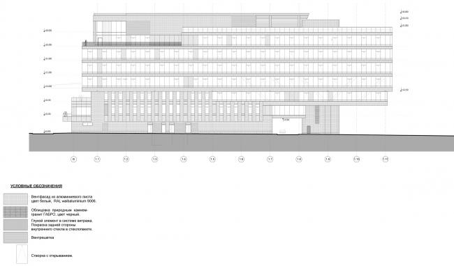 Штаб-квартира Объединенной авиастроительной корпорации в Жуковском. Фасад в осях 1.1-1.11 © ТПО «Резерв» (2012)