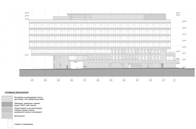 Штаб-квартира Объединенной авиастроительной корпорации в Жуковском. Фасад в осях 2.11-2.1 © ТПО «Резерв» (2012)