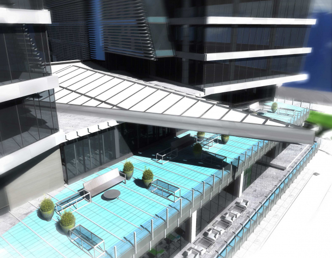 Штаб-квартира Объединенной авиастроительной корпорации в Жуковском. Перспективный вид на балкон конфернц-зала © ТПО «Резерв» (2012)