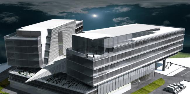 Штаб-квартира Объединенной авиастроительной корпорации в Жуковском. Перспективный вид © ТПО «Резерв» (2012)