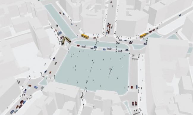 Mobility in chain. Симуляция проекта реконфигурации площади Лорето, Милан