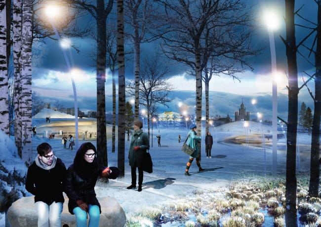 Парк «Зарядье». Консорциум Diller Scofidio + Renfo, Citymakers, Hargreaves, Ландшафтная компания ARTEZA. Проект, 2013. Изображение предоставлено Diller Scofidio + Renfro с Hargreaves Associates и Citymakers