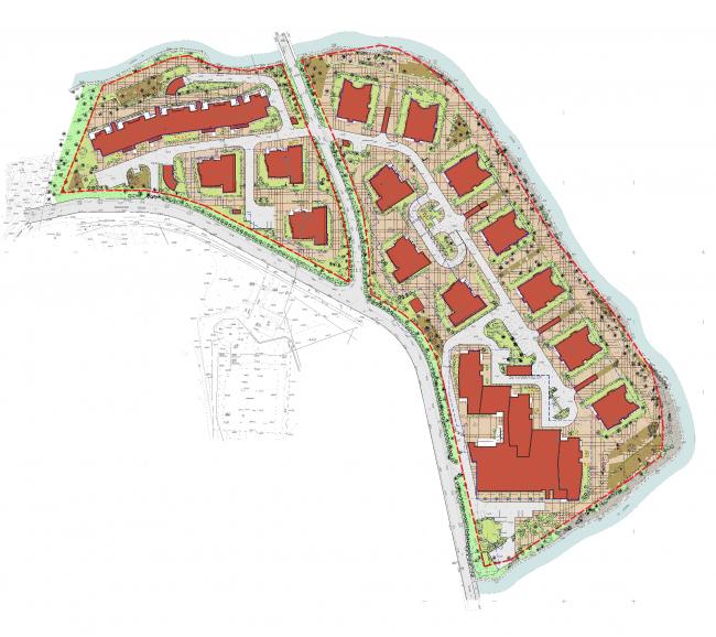 Жилой комплекс «Олимпийская деревня Новогорск. Квартиры». Генеральный план © Архитектуриум