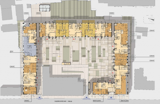 Жилой комплекс Wine House. План первого этажа. ТПО «Резерв», SPEECH