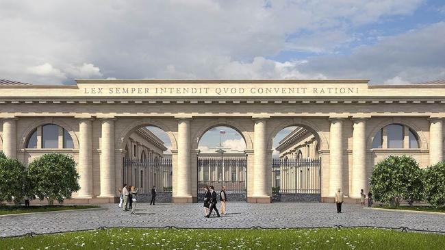 Вид на комплекс Верховного суда со стороны площади у Биржевого моста. Проект мастерской Максима Атаянца. Фотография: «Коммерсантъ»