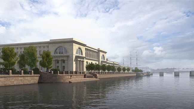 Здание Верховного суда. Вид со стороны Тучкова моста. Проект мастерской Максима Атаянца. Фотография: «Коммерсантъ»