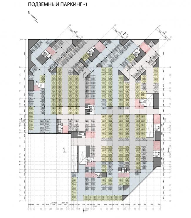 Концепция жилого комплекса на Рублевском шоссе. Подземный паркинг © АБ «Атриум»