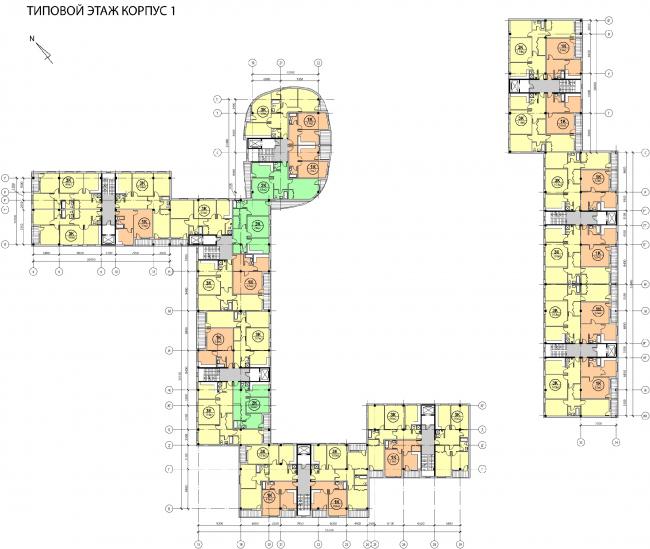 Концепция жилого комплекса на Рублевском шоссе. Типовой этаж. Корпус 1 © АБ «Атриум»