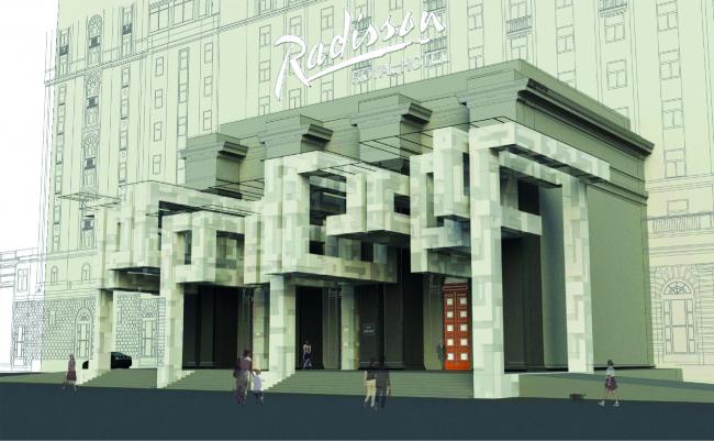 Проект архитектурного решения входной группы гостиницы «Украина». Balmond Studio (Великобритания). © КБ «Стрелка»