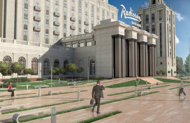 Проект архитектурного решения входной группы гостиницы «Украина». Arch Group (Россия). © КБ «Стрелка»