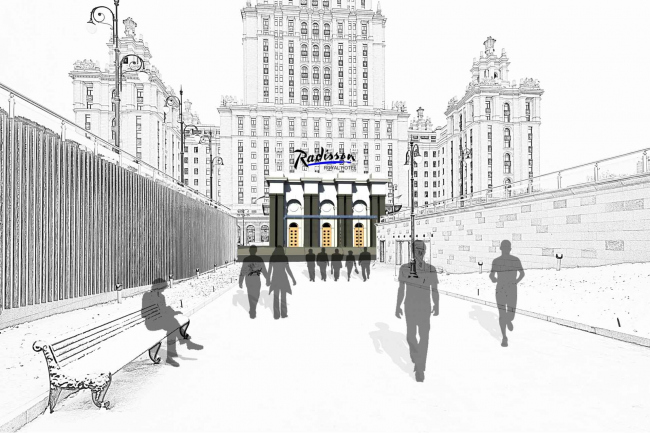 Проект архитектурного решения входной группы гостиницы «Украина». Педро Мигель Эстрела ди Алмейда (Португалия).  © КБ «Стрелка»