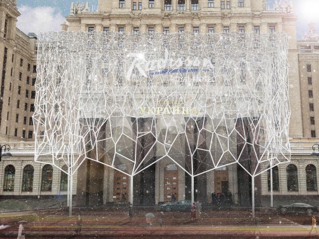 Проект архитектурного решения входной группы гостиницы «Украина». Wolfgang Buttress (Великобритания) при участии Simmonds Studio.  © КБ «Стрелка»