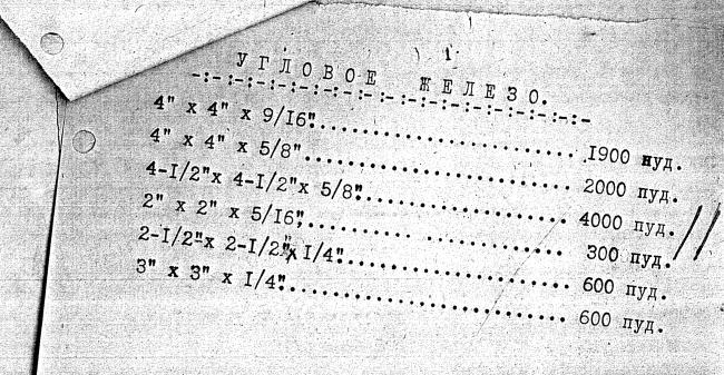 Бланк заказа на металл для башни. Из архива экономики.  Материалы предоставлены Е. Ножовой