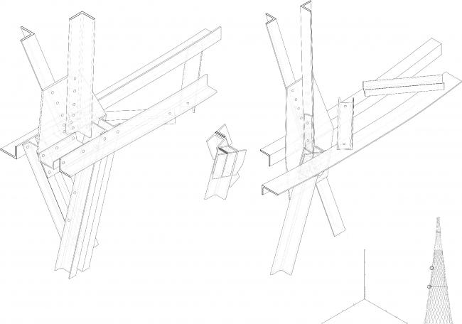 Конструктивный узел Шуховской башни. Материалы предоставлены Е. Ножовой