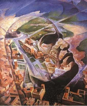 А. Гауро Амбрози. Аэропортрет Муссолини Авиатора. Нач. 1930-х гг. Лицо Дуче наложено на вид центра Рима с птичьего полета.