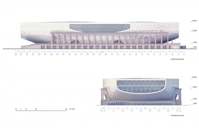Северный и западный фасад / Концепция реконструкции бассейна «Лужники», ДНК аг.
