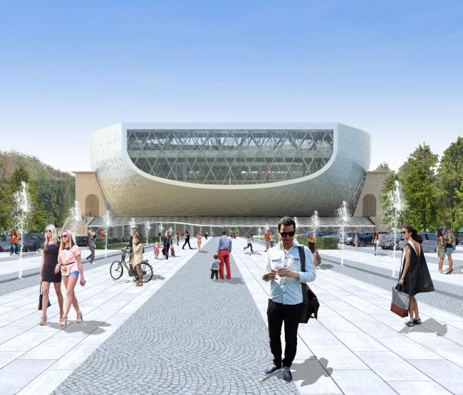 Вид от метро / Концепция реконструкции бассейна «Лужники», ДНК аг.