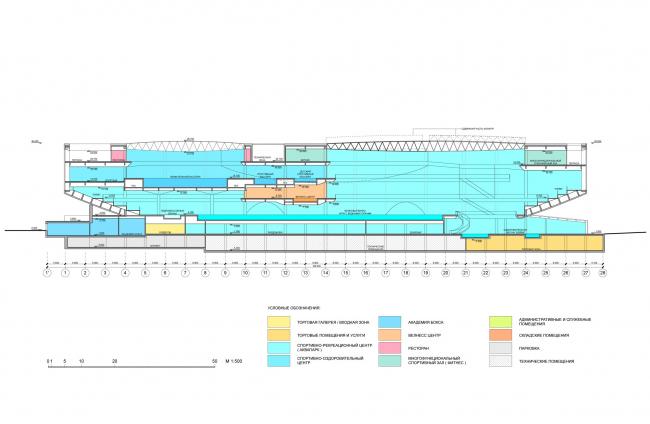 Сечение 1-1 / Концепция реконструкции бассейна «Лужники», ДНК аг.