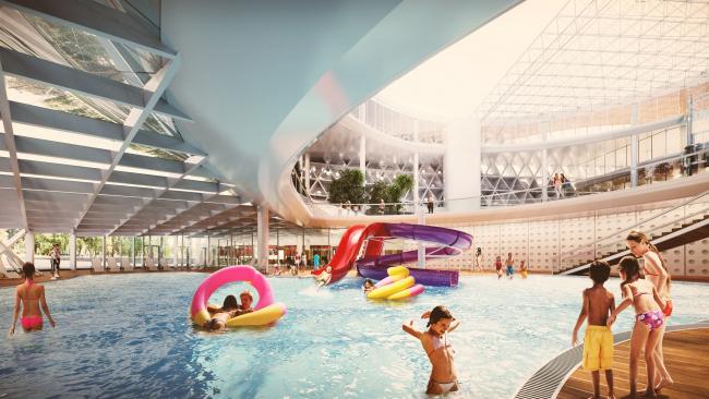 Вид первого этажа аквапарка / Концепция реконструкции бассейна «Лужники», ДНК аг.