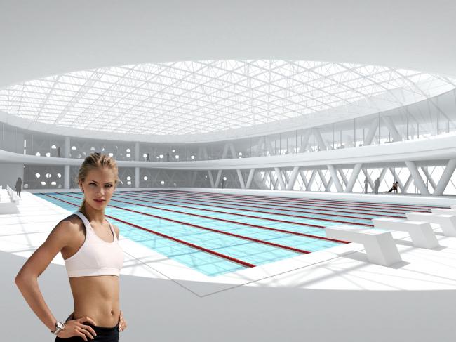 Реконструкция бассейна «Лужники», Финалист конкурса, 2014. Интерьер спортивного бассейна © ДНК аг