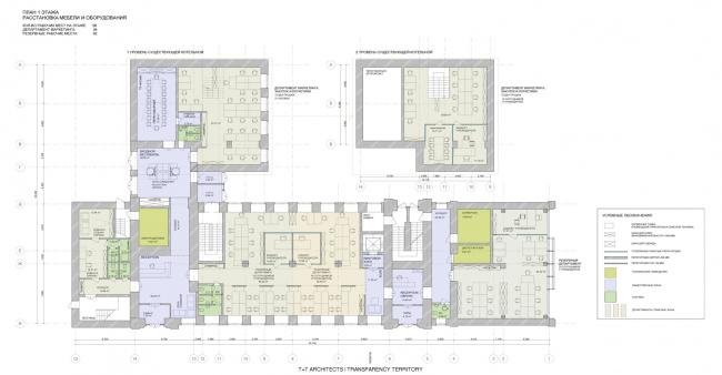 План 1 этажа. Реконструкция мельницы И.А. Зарывнова под офисный центр © Т+Т Architects, Mealhouse Concept Design