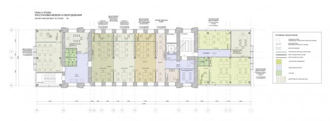 План 2 этажа. Реконструкция мельницы И.А. Зарывнова под офисный центр © Т+Т Architects, Mealhouse Concept Design