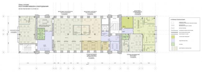 План 3 этажа. Реконструкция мельницы И.А. Зарывнова под офисный центр © Т+Т Architects, Mealhouse Concept Design