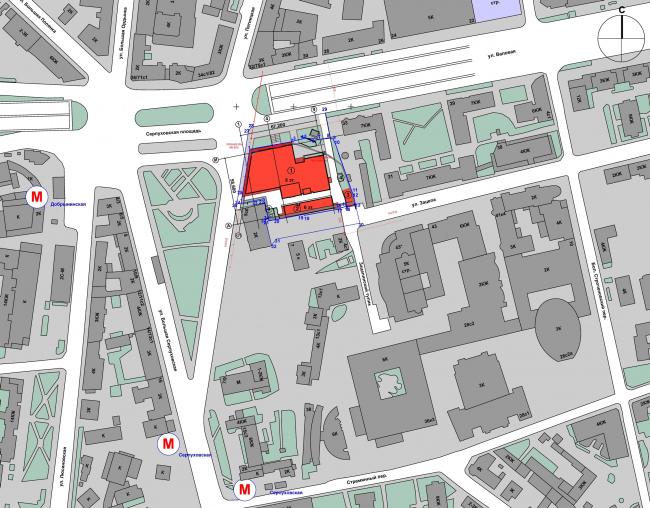 Бизнес-центр «Wall street» на Валовой улице. Ситуационный план © ТПО «Резерв»