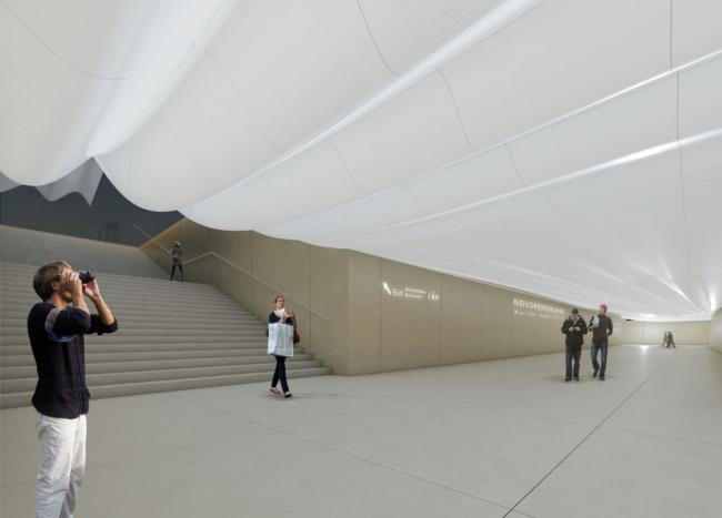 Проект станции метро «Новопеределкино» © Gerber Architekten