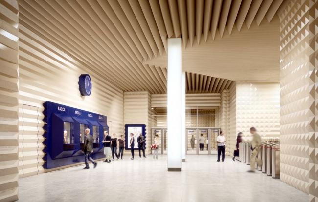 Проект станции метро «Новопеределкино» © Palast Architekts