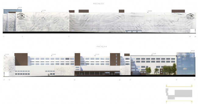Фасад 5-5, 6-6. Конкурсный проект реконструкции кондитерско-булочного комбината «Простор». 3-е место © Арх Груп
