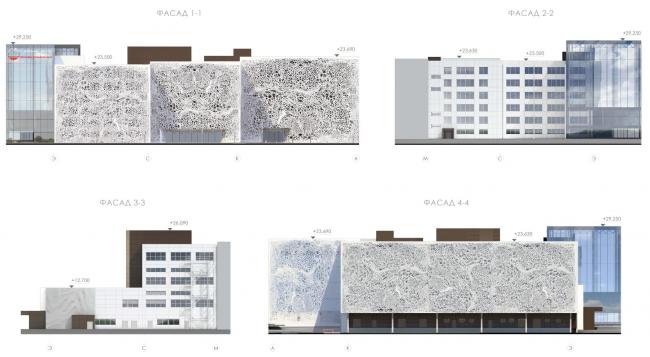 Фасад 1-1, 2-2, 3-3, 4-4. Конкурсный проект реконструкции кондитерско-булочного комбината «Простор». 3-е место © Арх Груп
