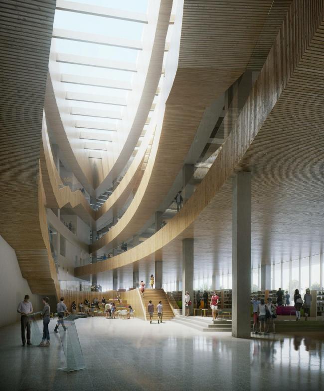 Дизайн холла центральной библиотека в Калгари от Snøhetta