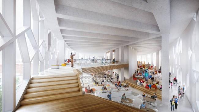 Дизайн читального зала библиотеки в Калгари от Snøhetta