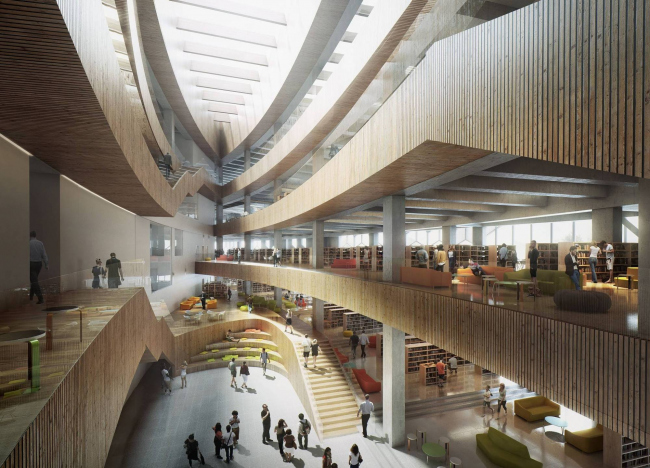 Дизайн интерьера библиотеки в Калгари от Snøhetta