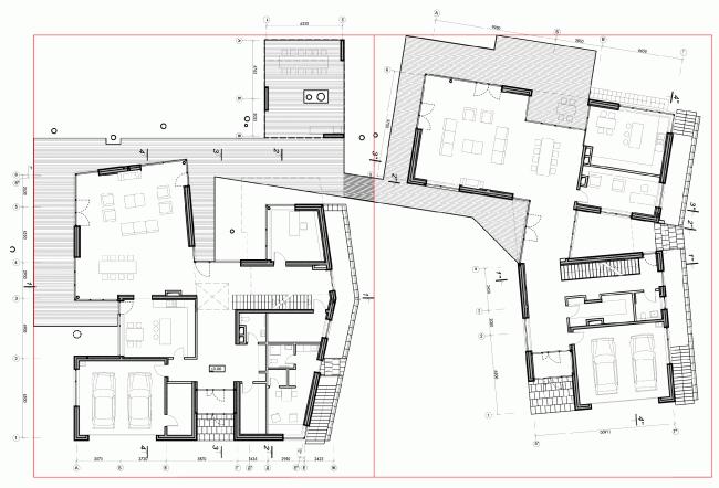 Две виллы. План первого этажа © ДНК аг