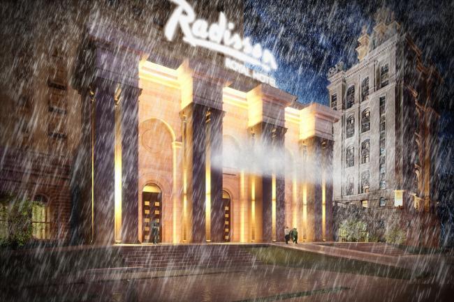 Конкурсный проект козырька гостиницы «Украина» © Архитектурная мастерская Arch group