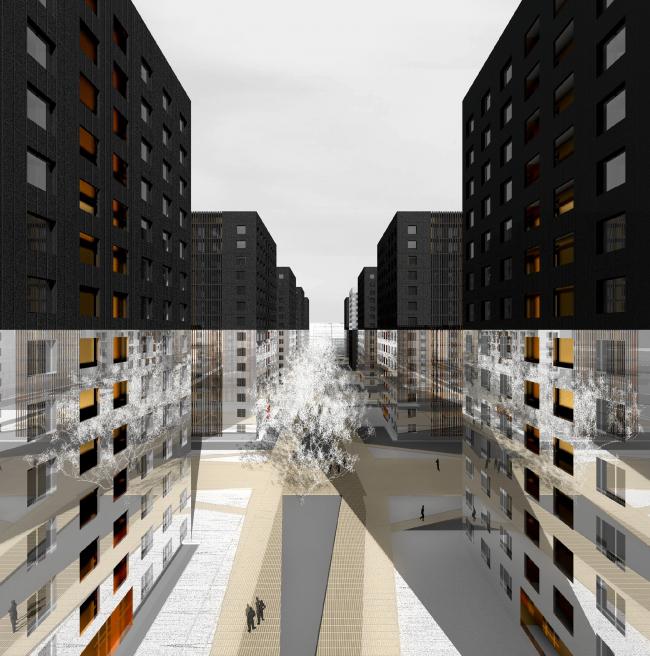 Конкурсный проект фасадов башен жилого комплекса на проспекте Медиков © Яна Цебрук и Олег Ткачук. Изображение предоставлено архитектурной мастерской SPEECH
